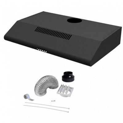 Cookology Visor Cooker Hood | 60cm Black Extractor Fan & 120mm Ducting Kit