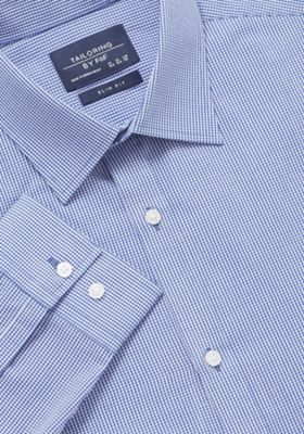 F&F Gingham Slim Fit Long Sleeve Shirt Blue 18