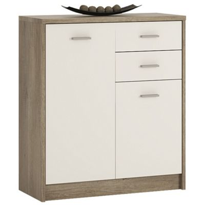 Kensington 2 Door 2 drawer Cupboard Grey Oak/White