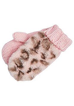 F&F Faux Fur Leopard Print Mittens - Pink