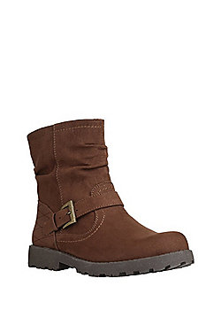F&F Buckle Detail Slouch Ankle Boots - Brown