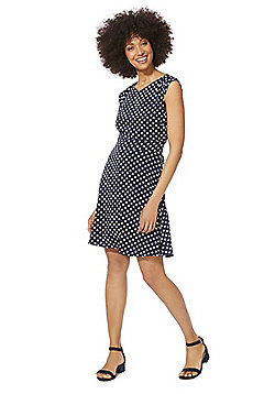 Mela London Polka Dot Fit and Flare Dress - Navy