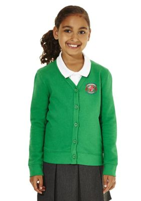 Girls Embroidered Cotton Blend School Sweatshirt Cardigan with As New Technology 11-12 years Emerald green