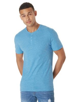 F&F Grandad Collar T-Shirt with As New Technology Blue L