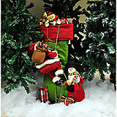 Standing Decorated Christmas Stocking With Figures (75cm)