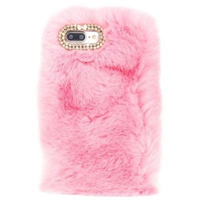 iPhone 8 Plus Soft Faux Fur Phone Case with Diamante Detail - Pink