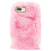 iPhone 8 Plus Soft Faux Fur Phone Case with Diamante Detail - Pink