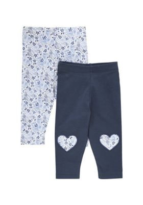 F&F 2 Pack of Floral and Knee Patch Leggings Blue/White 0-1 months