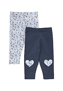 F&F 2 Pack of Floral and Knee Patch Leggings - Blue/White
