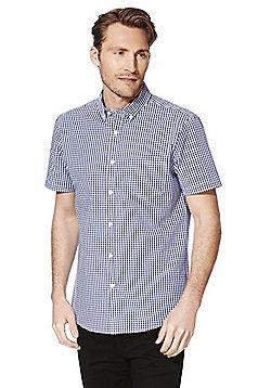 F&F Gingham Short Sleeve Shirt - Navy