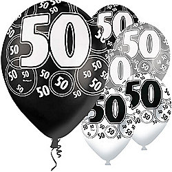 50th Birthday Black Silver 12 Inch Latex Balloons