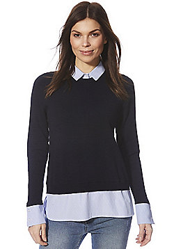 F&F Striped Collar 2 in 1 Jumper - Navy