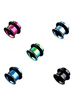 Urban Male Pack of Five Titanium Plated Ear Stretching Flesh Tunnels Single Flared 6mm