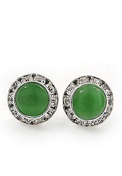Light Green Cats Eye Diamante Button Stud Earrings In Silver Plating - 13mm Diameter