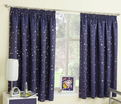 Moonlight Blackout Pencil Pleat Curtains, Navy 168x137cm