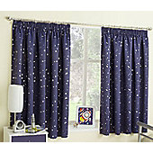 Enhanced Living Moonlight Navy Pencil Pleat Curtains - 66x54 Inches (168x137cm)