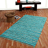 Homescapes Leather Glitter Rug Gold & Turquoise, 66 x 200cm Runner
