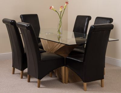 Valencia Glass & Oak 200 cm Dining Table with 6 Black Montana Leather Chairs