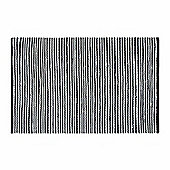 Homescapes Groove Black and White Monochrome Stripy Cotton Chindi Rug, 160 x 230 cm