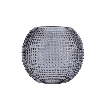 Bahne Vase Round Textured Glass in Smokey Grey