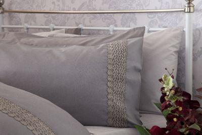 Belledorm Double Aria Intricate Lace Trim Grey Duvet Cover Set