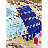 Catherine Lansfield Rainbow Pairs Beach Towel - Blue