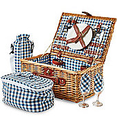 Andrew James 2 Person Traditional Picnic Hamper in Blue Check