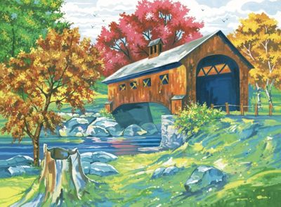 Large Painting By Numbers - Covered Bridge - Art Store