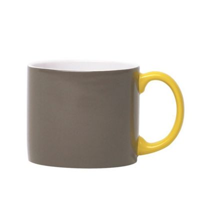 Jansen Mix and Match Ceramic Espresso Cup in Grey with Yellow Handle JC1130