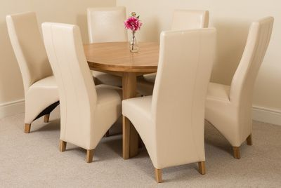 Edmonton Solid Oak Oval Extending 110 - 140 cm Dining Table with 6 Ivory Lola Leather Dining Chairs