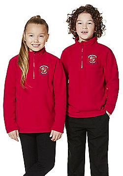 Unisex Embroidered Half Zip School Fleece - Red