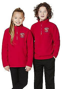 Unisex Embroidered Half Zip School Fleece - Red