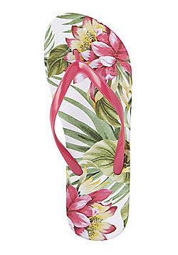 F&F Tropical Print Flip Flops - Green