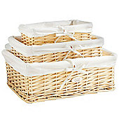 VonHaus Set of 3 Natural Wicker Storage Baskets with Removable Washable Lining