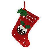 1 x Large 39cm Red Fleece Fabric Christmas Pudding Stocking