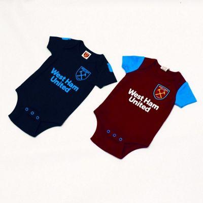 West Ham United Baby 2 Pack Bodysuits - 2017/18 Season