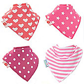 Zippy Pink Patterns Bandana Dribble Bibs, 4 pack, one size