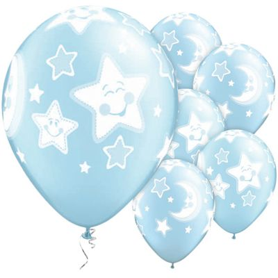 Baby Moon & Stars Light Blue Pearl 11 inch Latex Balloons - 25 Pack