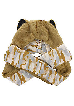 Faux Fur Animal Hat With Paws - Lion With Camo Lining - Multi