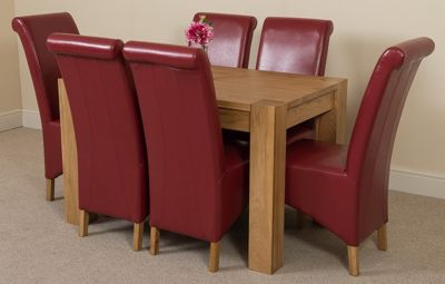 Kuba Chunky Solid Oak 125 cm Dining Table with 6 Red Montana Chairs