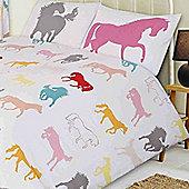 Horse Toddler Bedding - White