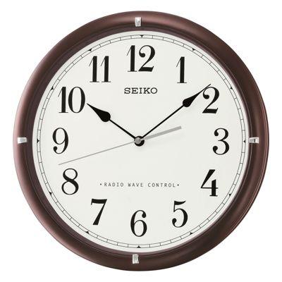 Seiko QXR303B Radio Controlled Wooden Wall Clock│31 x 3.7cm│Black Numerals│Dark Brown│