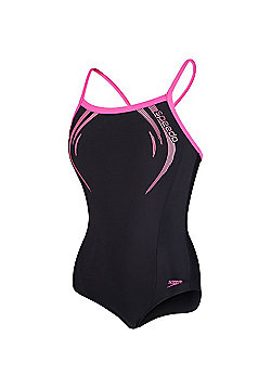 Speedo Endurance®10 Contrast Trim Logo Medalist Swimsuit - Black