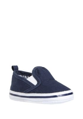 F&F Slip-On Canvas Plimsolls Navy 3-6 months