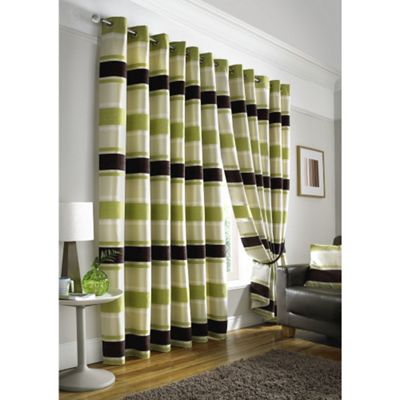 Pimlico Striped Chenille Eyelet Lined Curtains - 66x54 Inches (168x137cm)