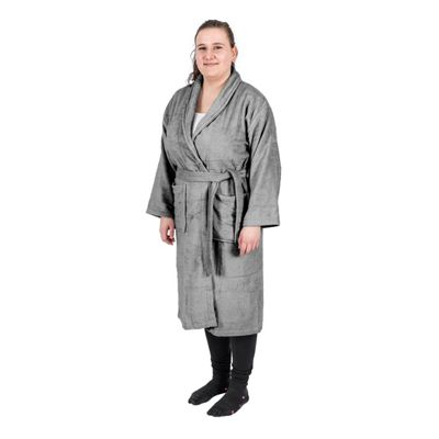 Homescapes Charcoal Grey 100% Egyptian Combed Cotton Adults Bathrobe with Shawl Collar, L/XL