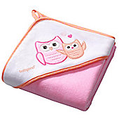 Large Hooded Baby Towel - Pink Owl