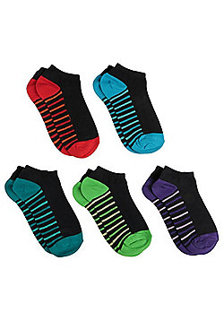 F&F 5 Pair Pack of Trainer Socks - Multi
