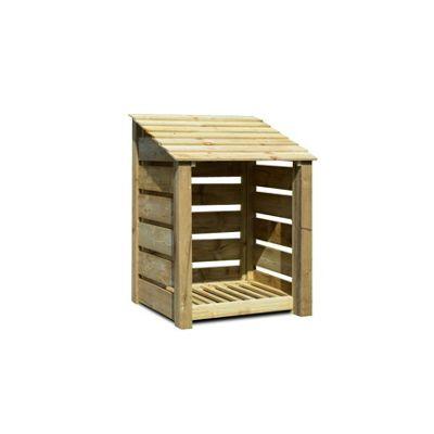 Burley wooden log store - 4ft - Slatted - Natural