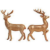 Set of 2 20cm Copper Glitter Polyresin Stag Christmas Ornaments